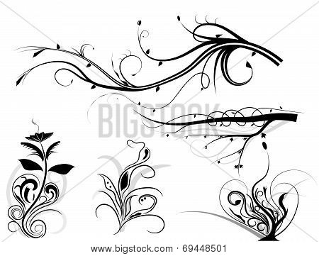 Set of swirling graphic elements vector