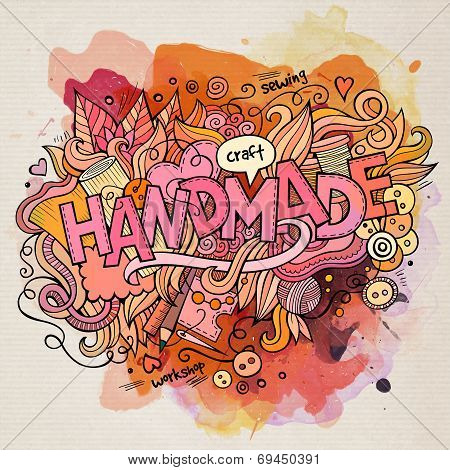 Handmade watercolor cartoon hand lettering and doodles elements