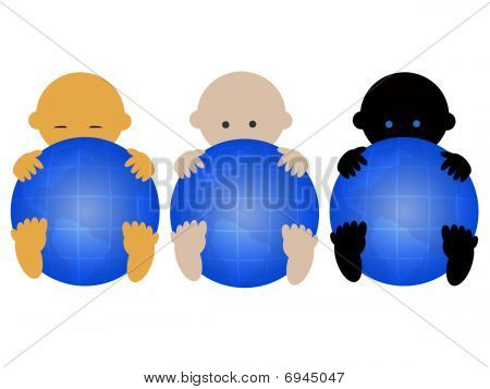 Multiracial babies with globes