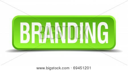 Branding Green 3D Realistic Square Isolated Button