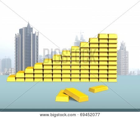 Bullion In Stairs Shape On Desk In Office