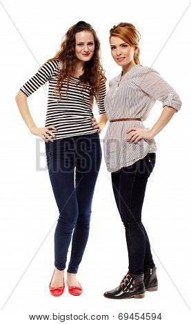 Girlfriends Standing Akimbo
