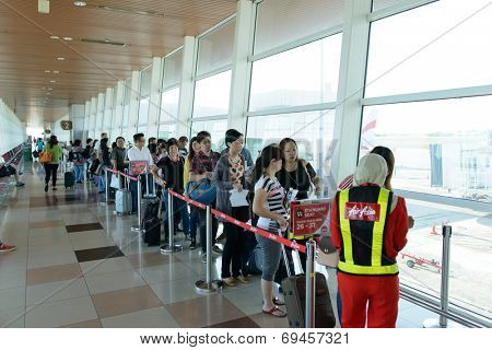 KUCHING - MAY 06: airport interior on May 06, 2014 in Kuching, Malaysia. Kuching International Airport is an international airport serving the entire southwestern region of Sarawak,