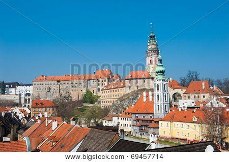Panoramic view of beautiful Czech city Cesky Krumlov