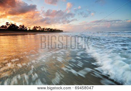 Sunrise Over Bali Coastline, Berawa Beach, Echo Beach, Bali Indonesia.