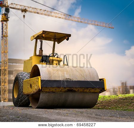Road Roller At Construction Site