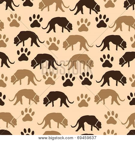 Dog And Footprint Seamless Pattern Eps10
