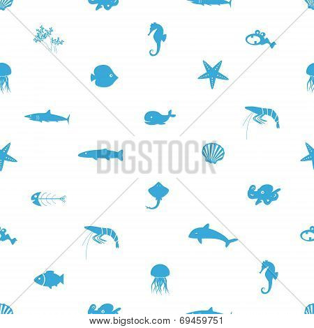Fish And Sea Life Icons Seamless Pattern Eps10
