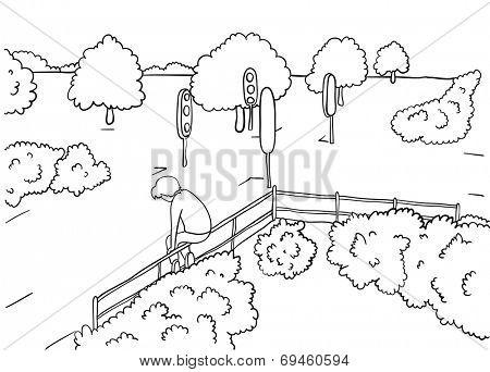 man alone in park, vector illustration