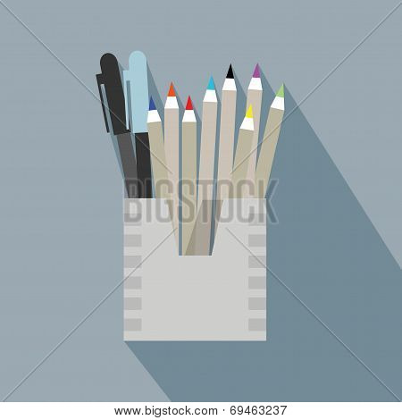 Pencil holder and organizer box icon with long shadow