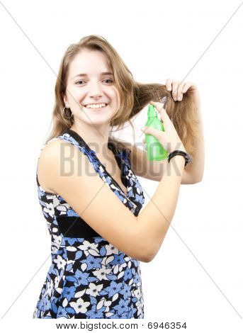 Brunette Girl With Hair Spray