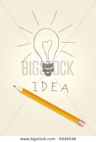 Bulp luz de handdrawn en papel y lápiz