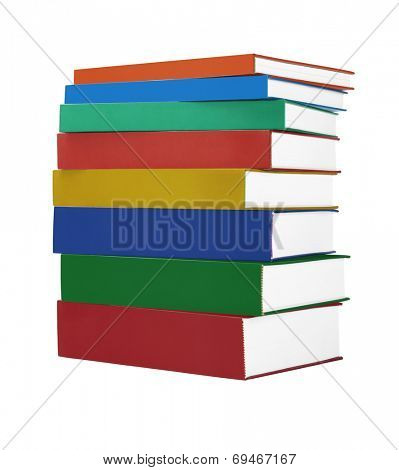 Stack Of Colorful Hardcover Books On White Background