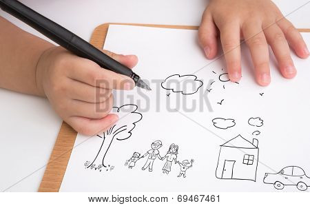 Preschool age child writing love family