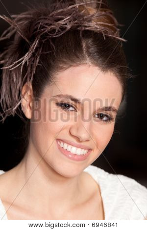 Beautiful Young Woman With Hairstyle And Great Smile
