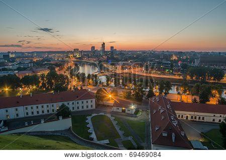 Aerial night panorama of Vilnius
