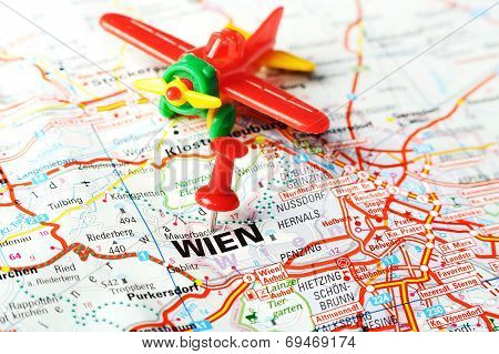 Wien ,austria Map Airplane