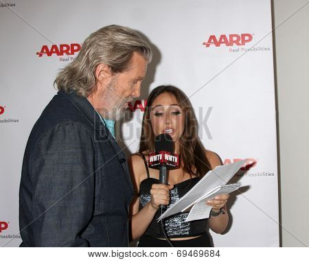 LOS ANGELES - AUG 1:  Jeff Bridges, Danielle Robay at the AARP Luncheon  IHO Jeff Bridges at the Spago on August 1, 2014 in Beverly Hills, CA