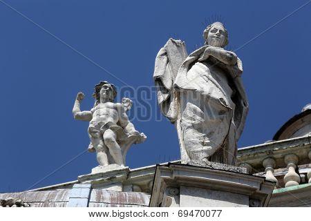 PARMA, ITALY - MAY 01, 2014: Saint and Angel. Basilica Santa Maria della Steccata. Basilica is a Marian shrine made in Parma between 1521 and 1539 and in 2008 elevated to the rank of minor basilica
