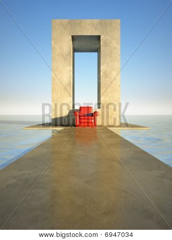 Red Seat On Sea