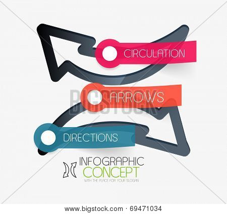 Vector circulation arrows infographic concept. Modern flat paper line art design with tags or your options on transparent stickers
