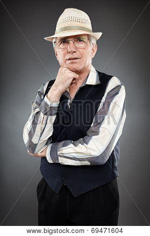 Old Man Over Gray Background