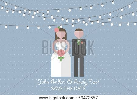 Wedding invitation card. Template in flat design style