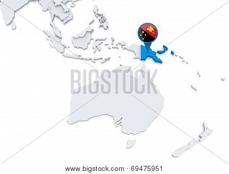 Papua New Guinea On A Map Of Oceania