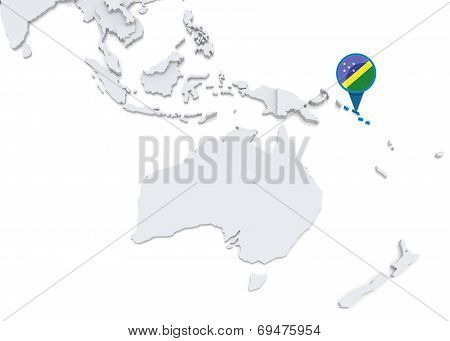 Solomon Islands On A Map Of Oceania