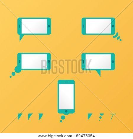 Gadget Vector smartphone empty speech bubbles yellow mobile