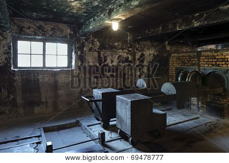 The Crematorium In Auschwitz Ii, A Former Nazi Extermination Camp In Poland.