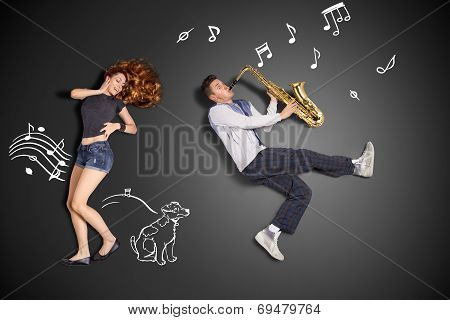 Playing The Sax For Her.