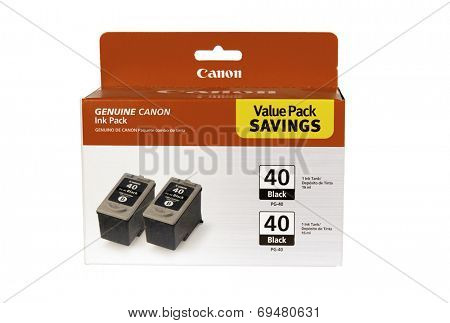 Hayward, CA - July 30, 2014: Canon Ink jet printer value savings twin pack #40 cartridges