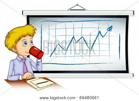 Illustration of a man drinking his coffee in front of the whiteboard on a white background