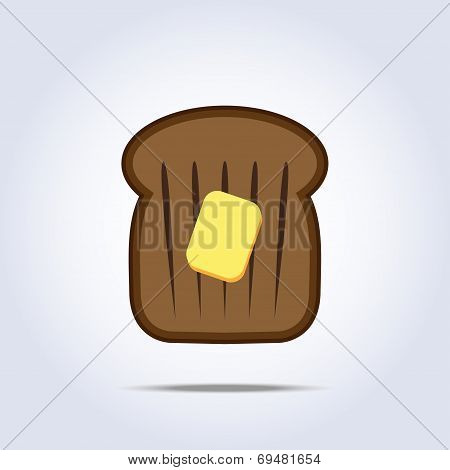 Black bread toast icon with butter