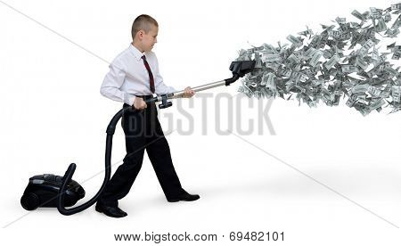 man collects money Vacuum