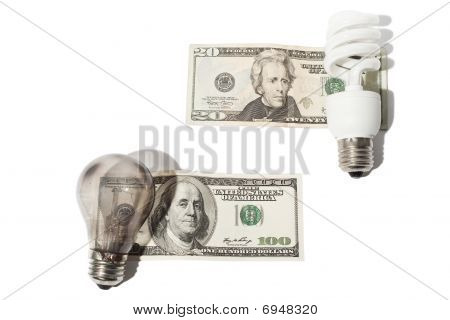 Banknotes And Light Bulbs