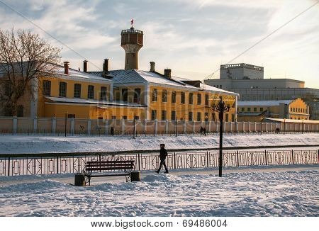 Russian city in the winter
