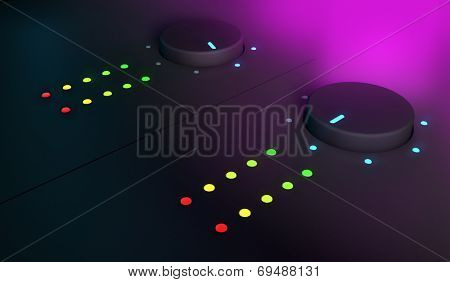 3d closeup of knobs, dj mixer equipment, with pink light on the background