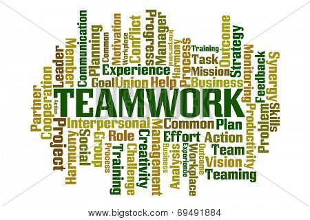 Teamwork word cloud on white background