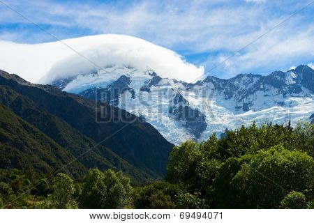 Natural landscape of New Zealand alps and glaciers