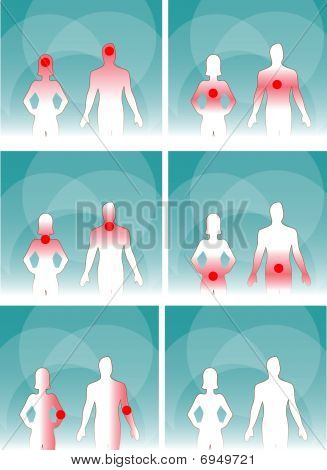 Medical Man & Woman, Human Body Pain.head, Neck,joints, Urinogenital System, Stomach, Lungs