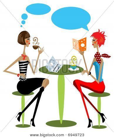2 Woman Drink Coffee, Talking, Reading Fashion Magazine Cartoon Illustration