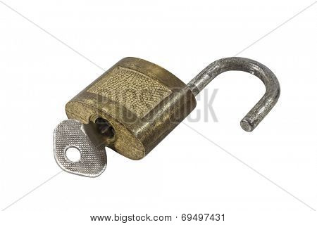 Vintage brass padlock with key.
