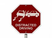 stock photo of bans  - No Distracted Driving Sign Red stop sign with words Distracted Driving and accident icon isolated on white - JPG