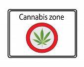 foto of ganja  - a Vector of white cannabis zone sign  - JPG