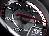stock photo of countdown  - 3d illustration of 2015 year car speedometer - JPG