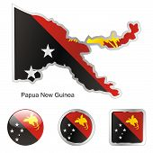 stock photo of papua new guinea  - fully editable vector flag of Papua New Guinea in map and web buttons shapes - JPG