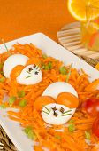pic of field mouse  - Funny carrot salad with boiled eggs resembling mice kid food  - JPG