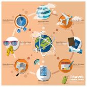 pic of passport template  - Travel And Journey Business Infographic Flat Icon Set Design Template - JPG
